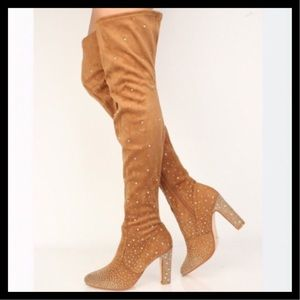 fe22a33a3e6 Cape Robbin Shoes - CAPE ROBBIN Rhinestone Thigh High Boots Soft Suede